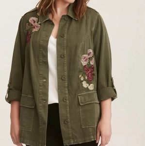 Torrid Olive Green Floral Embroidered Twill Jacket